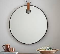equestrian round leather strap loop mirror