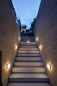 interesting lighting. Unusual Square Lamp On Unique Wall Closed Interesting Staircase Fit To Modern Outdoor Lighting With Green Tree And Black Cable Near Big E