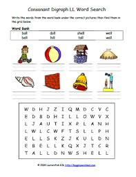 Here, you will find free phonics worksheets to assist in learning phonics rules for reading. Consonant Digraphs Ll Phonics Word Search Easy
