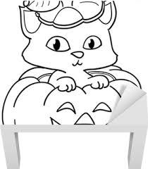 Sticker Kat In Een Halloween Pompoen Kleurplaat Pixers We Leven