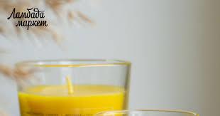 <b>Свеча в стекле</b> на основе пчелиного и соевого воска в магазине ...