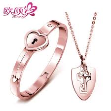 ouyan bracelets rose gold lock key bangle and pendant set in titanium steel knight shield key necklace heart bangle matching jewelry for him