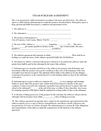 Sublease Form Rental Agreement Texas Efficient Sublease Form Template