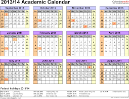 Academic calendars 2013/2014 as free printable Excel templates