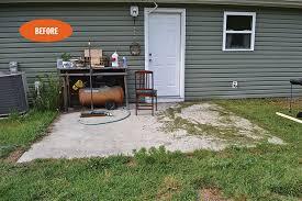 concrete slab patio makeover.  Patio 0714lizgalvinbefore And Concrete Slab Patio Makeover