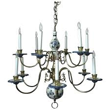 chandeliers blue delft chandelier superb vintage two tier white pottery brass and