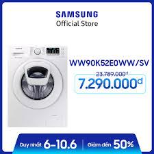 Máy giặt cửa trước Samsung WW90K52E0WW/SV Inverter AddWash 9Kg (Trắng) -  Liên Hệ Hotline Samsung 1800588889 để được hỗ trợ lắp đặt - Hàng chính hãng  giá rẻ 6.999.000₫