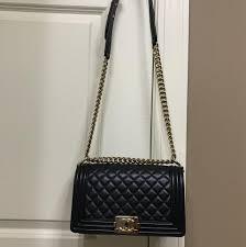 Chanel Boy Old Medium with Gold Hardware Pearly Black Quilted ... & 1234567 Adamdwight.com