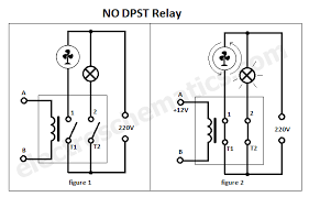 dpst relay as you can see in the schematics above if we use a no dpst relay the contacts will be closed only if voltage is applied to the coil