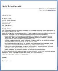 Medical Technologist Cover Letter Examples Jobs Pinterest