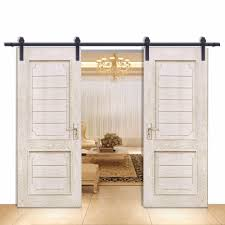 Barn Door Hardware 12ft Straight Black Double Door