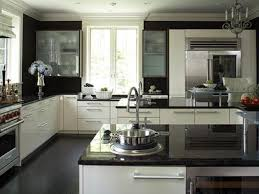 modern kitchen black and white. Large Space L Shape Black And White Kitchen Feats Granite Countertops Also Finished Cabinetry Modern E