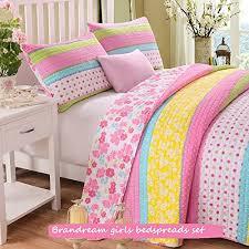 Amazon.com: Brandream Pink Polka Dot Stripe Floral Quilt Set,Twin ... & Amazon.com: Brandream Pink Polka Dot Stripe Floral Quilt Set,Twin: Home &  Kitchen Adamdwight.com