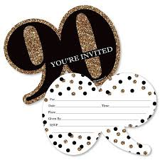 Adult 90th Birthday Gold Shaped Fill In Invitations Birthday