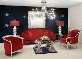 luxurious red living room furniture decorating ideas silver metal modern chandelier lighting red fabric arm sofa