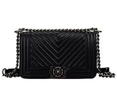 Bagroo 100% Genuine Leather Lambskin Handbags Quilted Handbag ... & Bagroo 100% Genuine Leather Lambskin Handbags Quilted Handbag Chain Strap  ... Adamdwight.com