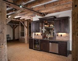 N Basement Bar Exposed Beams But With Unfinished Basement Stained Concrete  Floor