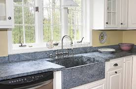 high end kitchen with blue granite countertops