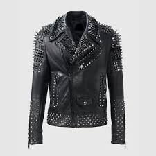 Details About Mens Fashion Leather Jacket Silver Studded Real Soft Motorbike Leather Jackets