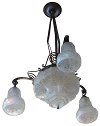art nouveau into art deco iron and pressed glass chandelier