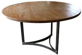 round dining table metal base pedestal solid reclaimed fine wood top vintage