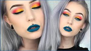 makeup look check out this tutorial by sonjdra featuring pink winged liner yellow waterline liner and a smoky grey lash line this colourful