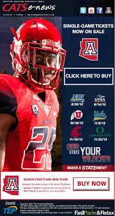 University Of Arizona Single Game Tickets Sale With
