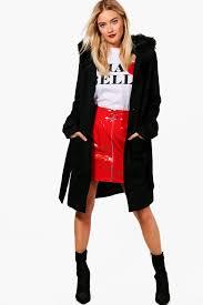 ava belted faux fur trim hood coat black product code dzz47071 xjhczpx
