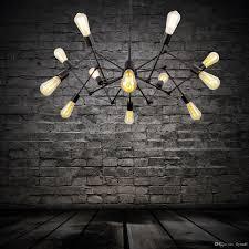 Großhandel Spinne Kronleuchter Vintage Schmiedeeisen Pendelleuchte Loft Amerikanischen Stil Beleuchtung 12 Lichter Antike Industrielle Pendent Light