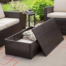stylish outdoor wicker coffee table with storage great round