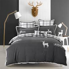 washed cotton elk embroidery luxury bedding sets queen king size duvet cover bed sheet set