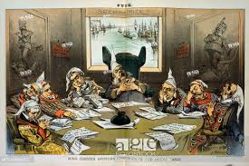 cartoon showing chester arthur and cabinet members wearing nightcaps sleeping around table on which are papers no ill will to