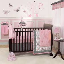 image of pink and brown crib bedding set color