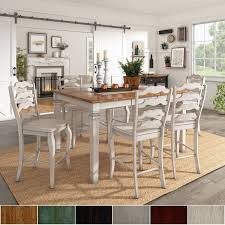elena antique white extendable counter height dining set french ladder back by inspire q clic