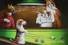 funny dog paintings dogs playing pool by cassius marcellus coolidge art handmade high quality in painting calligraphy from home garden on aliexpress com