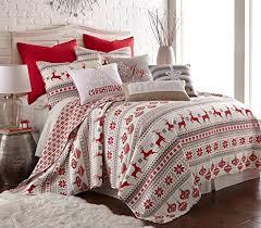 Amazon.com: Silent Night Twin Quilt Set, Red/Grey/White, Cotton ... & Silent Night Twin Quilt Set, Red/Grey/White, Cotton Christmas Holiday Adamdwight.com