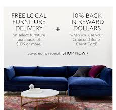 Crate And Barrel Designer Rewards Program Free Furniture Delivery 10 Back In Reward Dollars Cb2