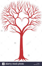 Red Love Tree With Heart Shaped Branches For Wedding Invitations