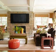 Tuscan Living Room Design Modern Tuscan Living Room With Lcd Tv Over Fireplace Modern