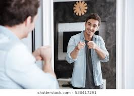 mirror reflection. Plain Mirror Smiling Young Man Pointing Fingers At His Mirror Reflection While Standing  Home To Mirror Reflection