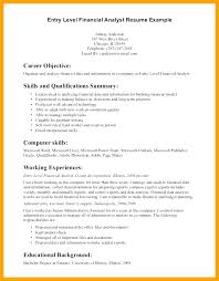 Resume Objective Example Extraordinary Entry Level Financial Analyst Resume Objective Format For Fresher