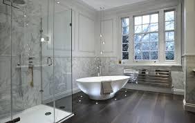 luxury bathroom design with let lights for freestanding