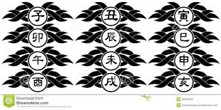 идеограммы китайской изолированной татуировки знаков зодиака