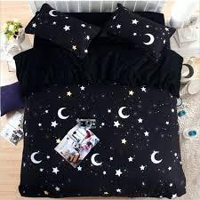 um image for grey star cot bed duvet cover black white moon and stars bedding set