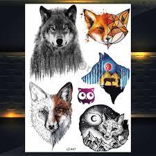 купить 25 стилей новая акварель тигр лиса волк временная татуировка