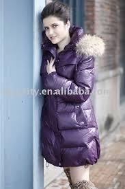 elegant women winter coat with shiny purple color