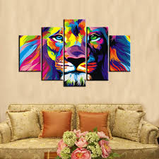 5pcs set colourful lion wall art oil painting on canvas no frame animal textured abstract paintings picture living room decor