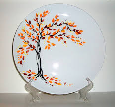 fall leaves theme hand painted wedding plate personalized with your names wedding date 10 1 2 inch porcelain plate with display stand