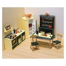 dollhouse kitchen furniture. Unique Furniture Melissa U0026 Doug Classic Wooden Dollhouse Kitchen Furniture 7pc  Buttery  YellowDeep Green On K