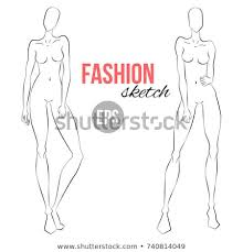 Body Template For Designing Clothes Illustration Womens Figure Designers Clothes Outline Stock Vector
